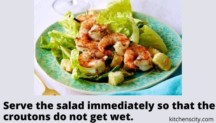 Caesar Salad With Fried Shrimps And Garlic Croutons