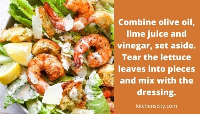 Caesar Salad With Shrimps And Worcestershire Sauce