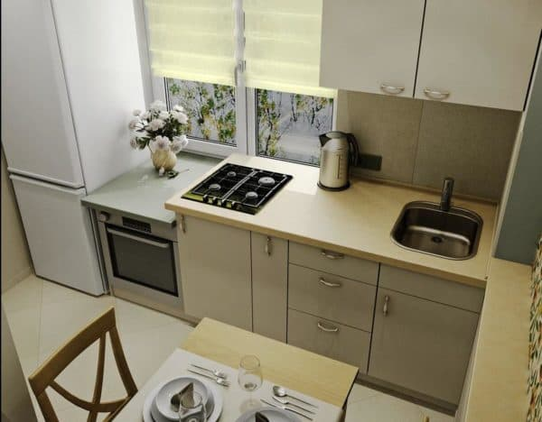 Kitchen layout 6 meters with refrigerator