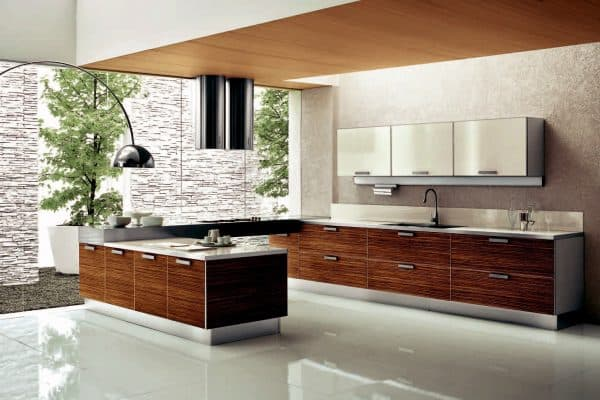 modern kitchen has smooth and shiny surfaces