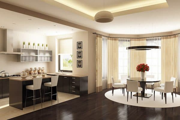 dining kitchen with bay window