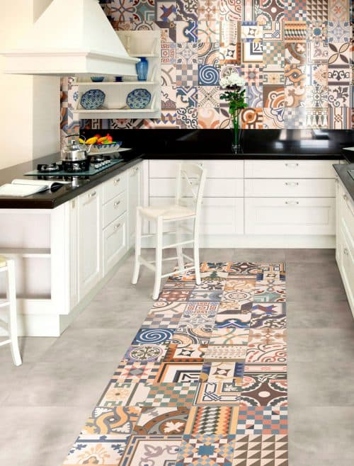 patchwork tiles in the kitchen