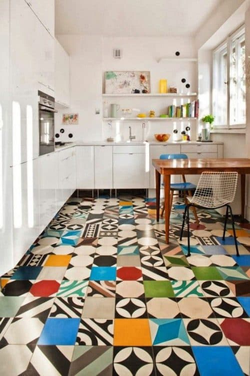 multi-colored floor in the kitchen
